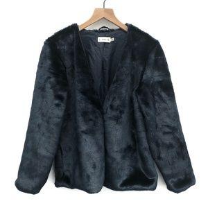 Lioness Revolve Blue Faux Fur Coat - Size XS/S